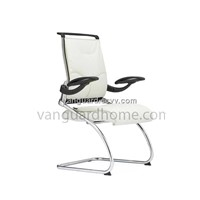 Leather Chromed Base Visitor Chair