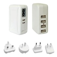 4 USB Ports Mains Charger SCH618 with interchangeable plugs