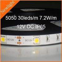 Epistar SMD 5050 Flexible LED Stripe Light 30LEDs/m 7.2W/m 12V DC IP65 waterproof