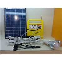 10w Portable solar power system for home lighting, with Mobile Charger, led bulb, Audio input, Radio