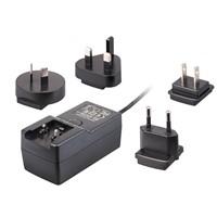 Universal 18W/24V/0.63A Interchangeable Plugin AC/DC Travel Adapter, USA/EU/AU/UK Plugs