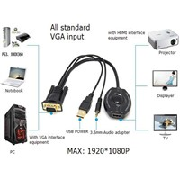 USB Power VGA Audio To HDMI Adapter Portable Conversion Cable for Notebook DVD