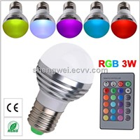 High quality E27 led RGB bulb 3w Remote Control