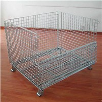 galvanized rolling folding wire cage with wheels
