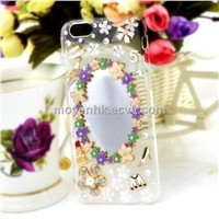 3D Rhinestone Mobile Phone Case, Ladies Phone Case, TPU Phone Case with Mirror