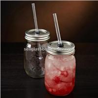 Glass Mason Jar With Straws
