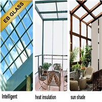 temperature control smart glass , sunshade glass in summer, eb glass
