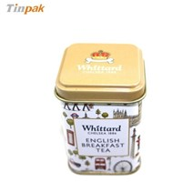 high quality square shape beautiful tea tin