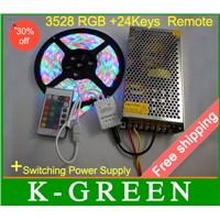 Waterproof Strip Light 60leds/m Dc 12v +24keys Remote+power