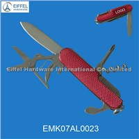 7in 1 Stainless steel pocket knife with aluminum handle(EMK07AL0023)