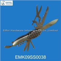 9 in 1 Stainless steel multifunction pocket Knife for promotional purpose (EMK09SS0038)