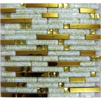 gold color metal mosaic mix diamond glass mosaic for Hotel Wall Decorated Mosaic -, Glass+metal