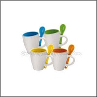 printed logo coloured two tone ceramic coffee mugs with spoon