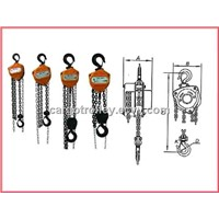 Manual chain hoist for moving and handling works