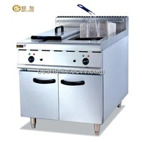 Stainless Steel Electric 2 Tanks Deep Fryer with Cabinet (BY-DF885)
