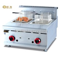 LPG Stainless Counter Top Gas chips deep fryer ,capacity:8L+8L(BY-GF585)