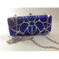 Silver Dainty Metal Mesh Minaudiere Box Blue Satin Evening Clutch Bags HH-M1330