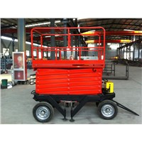Mobile hydraulic scissor work lift table of 10m