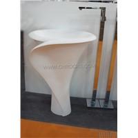 White Jade Marble Pedestal Sink,White Marble Pedestal Basin,Stone Pedestal Sink