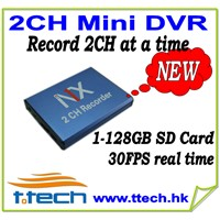 2CH Mini DVR which record 2CH video simultaneously, car DVR, mobile DVR, SD Card DVR