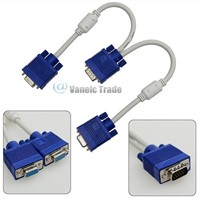 VGA SVGA Male to 2 Dual Female Y Adapter Splitter Cable 15P 28CM