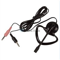 3.5mm Mini Ear-hook Single Side Headset Earphone w/ Mic For PC Laptop