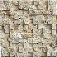 LINT1-3D beige split face travertine mosaic backsplash