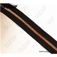 5# rose gold metal zipper with black tape