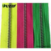 #5 metal zipper, a/brass, c/end, auto lock, normal slider