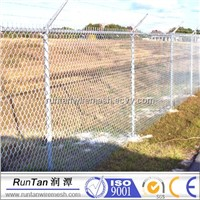 PVC Coated chain link fence with barbed wire