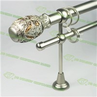 Satin nickel double curtain rod