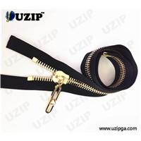 Heavy duty metal slider open end bronze zipper with euro teeth