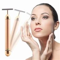 2015 New T shape 24k gold vibrate facial massager