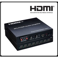 HDMI Splitter 1x8 + Audio Amplifier Support Bass/Speaker Output