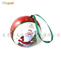 Christmas Ball Shaped Tin Box with Silk Ribbon