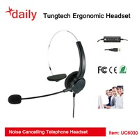 Call Center Headset With UC USB Headset Connector For Unified Communication