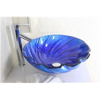 Navy blue shell shaped bathroom sink tempered Glass Vessel Sink With High oblique faucet Set N-541