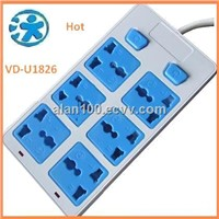 Custom Made extension leads Sockets, 6-outlet housing power strip, Electrical Plug Outlet Socket