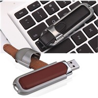 USB drive  , Leather USB Flash Drive with Plug-and-play Function