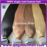 2015 New Arrival Long Beautiful Human Black Hair Skin Weft Extensions