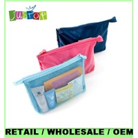 MP zippered mesh cosmetic bag for travel