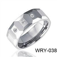 3 CZ Diamond Tungsten Wdding Ring 8mm  WRY-038