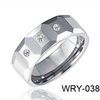 3 CZ Diamond Tungsten Wdding Ring 8mm  WRY-038
