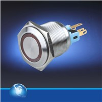 22mm momentary stainless steel push button switch with blue led illumination
