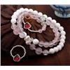 White tridacna rose quartz bracelet in sterling silver, gemstone bracelet&Ring jewelry set