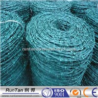 Green colour PVC Coated Barbed Iron Wire