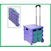 Folding Storage Organizer Crate Cart Plastic Portable Shopping Trolley