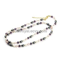 NE00932 Women's Gift Beauty Color Beads Necklace Fashion Long Chain  Jewelry