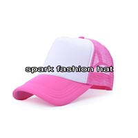 Spark fashion blank pink and white trucker mesh hat for girls