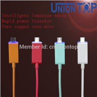 Colorful flat micro USB cable, android smart, luminous cable charger
